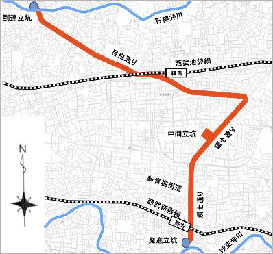 マップ:環状七号線地下広域調節池(石神井川区間)工事