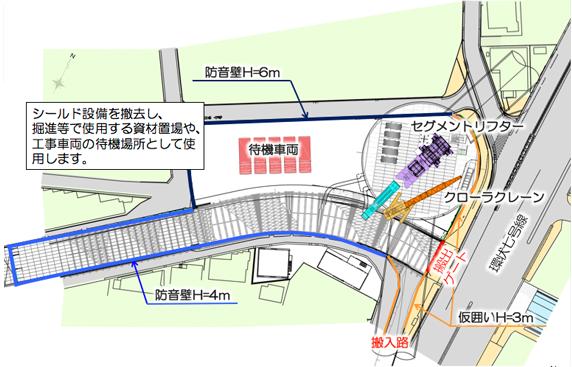 図:施工基地の状況(シールド基地移動後)