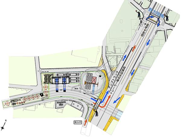 図:シールドトンネル施工時 工事車両搬入出ルート